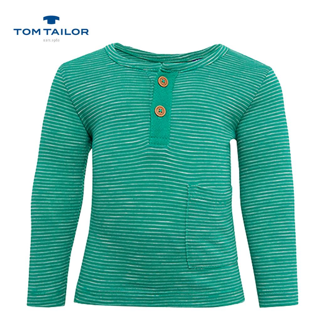 Блуза Tom Tailor с дълъг ръкав на райета зелена