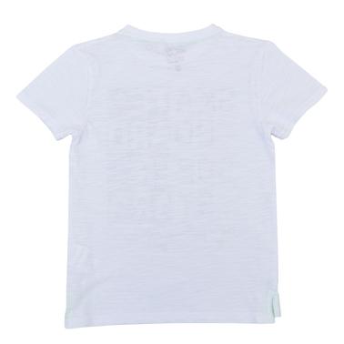 """Тениска с релефен принт """"Skateboard"""" в бяло"""