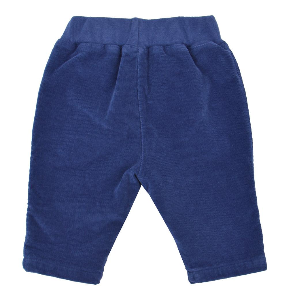 Бебешки джинси с подплата и джоб кенгуру тъмно сини