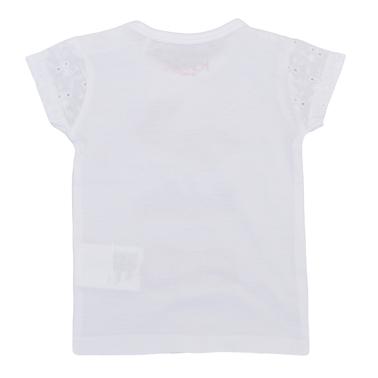 Тениска с рязана бродерия и щампа обувчици бяла