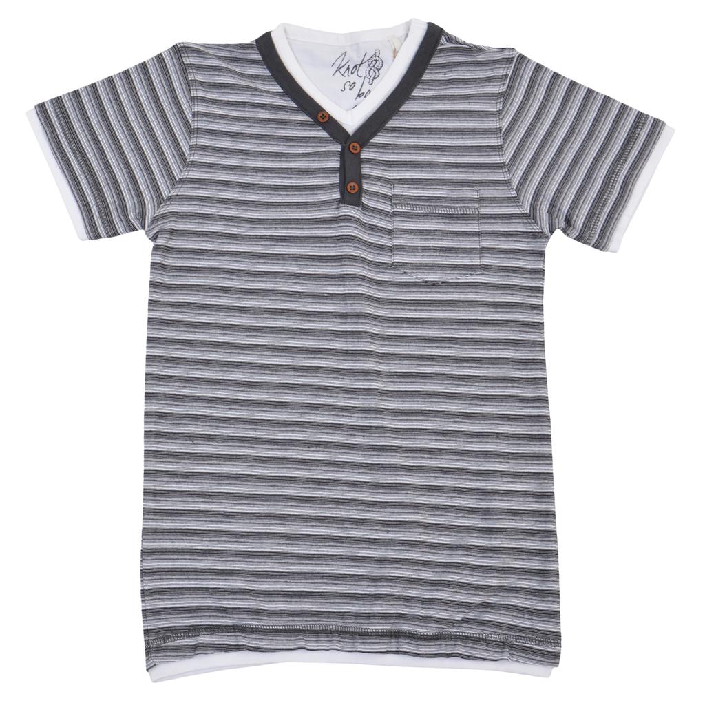 Детска елегантна блуза в ситно райе с джоб и веобразно деколте сива