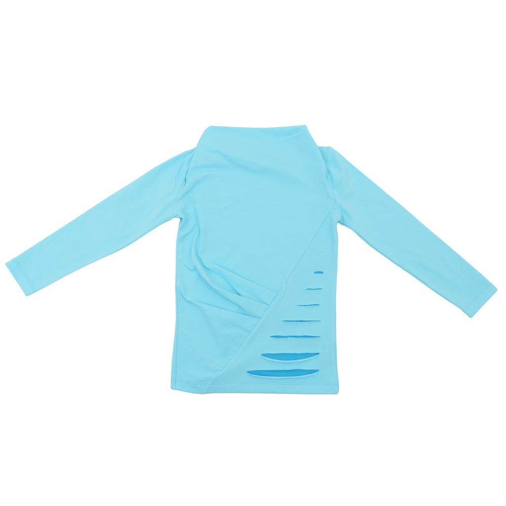 Модерна блуза с ефектен дизайн светъл електрик