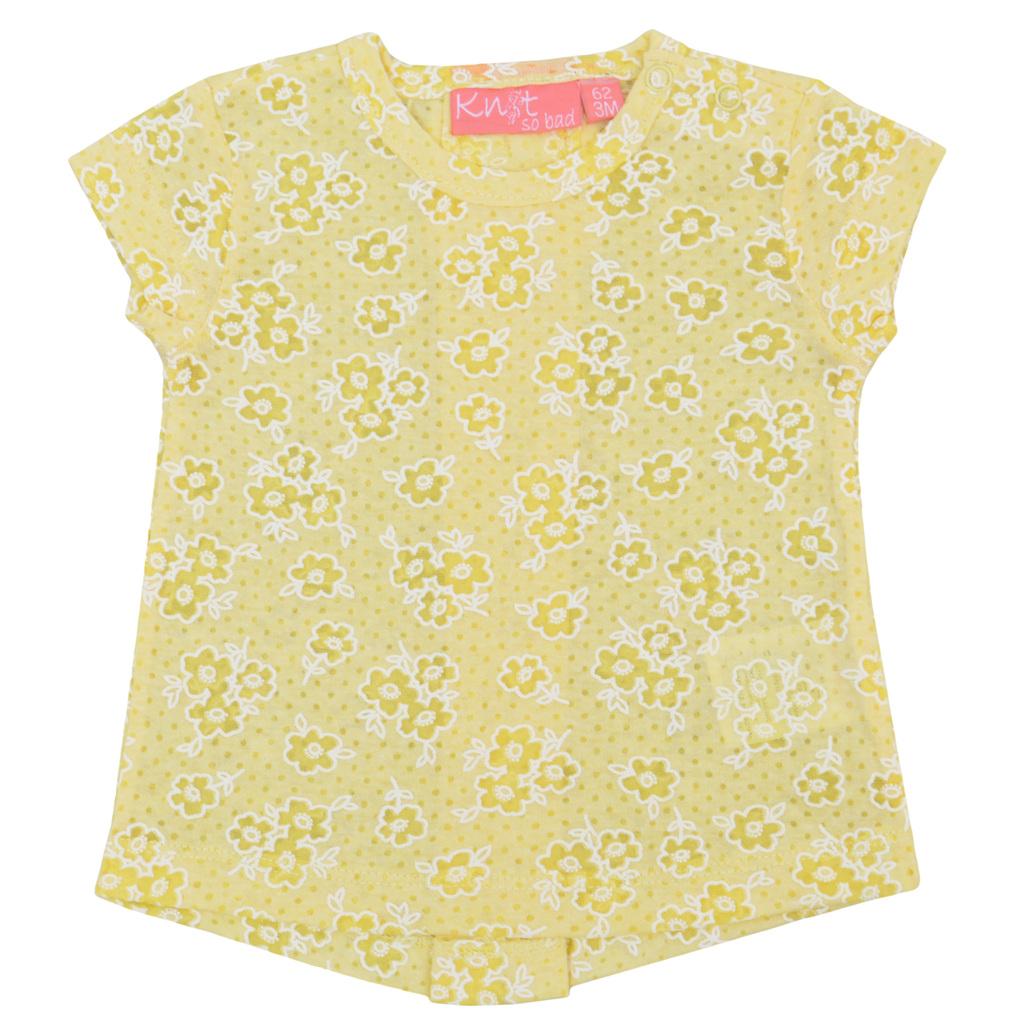 Бебешка туника с цветя и панделки жълта