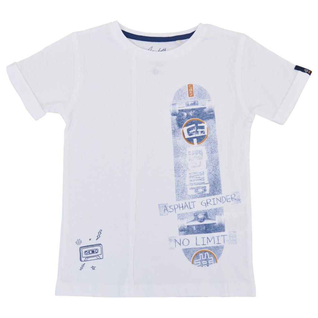 Тениска с вертикален шев и щампа скейтборд бяла