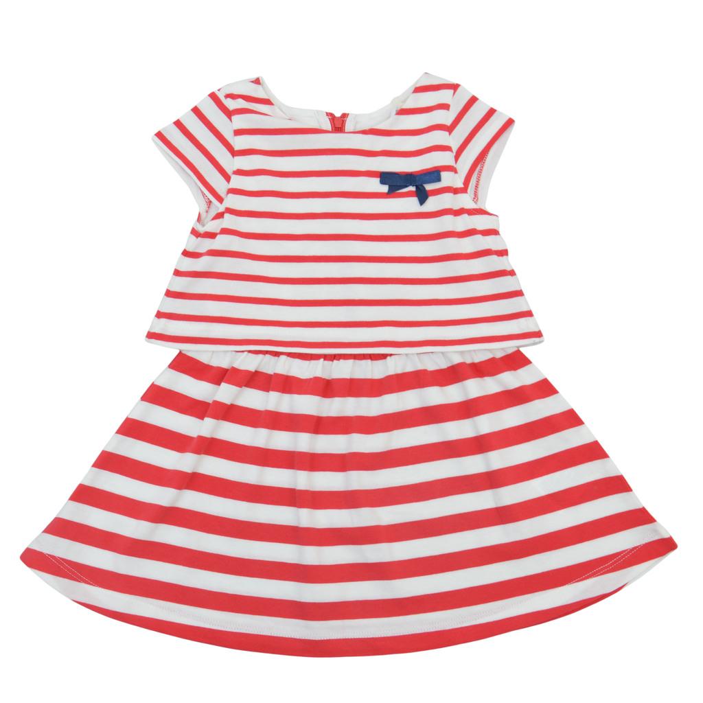 Лятна рокля с имитация на блуза в райе червена
