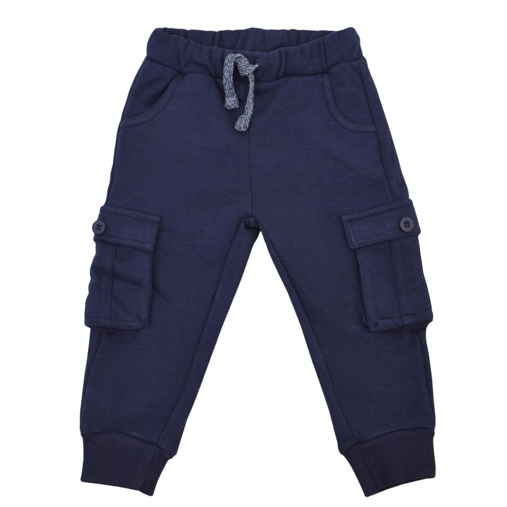 Меко долнище с много джобове и връзка тъмно синьо