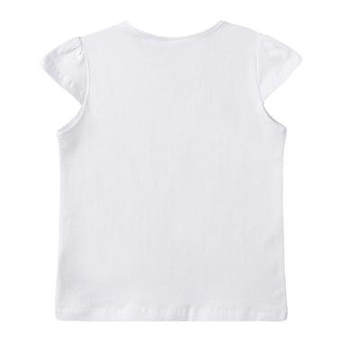Тениска Newness с щампа и балони от пайети бяла