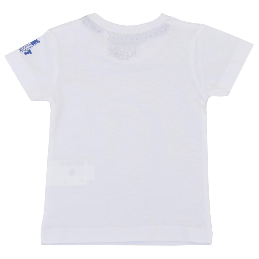 Тениска с копчета на рамото и ананас бяла