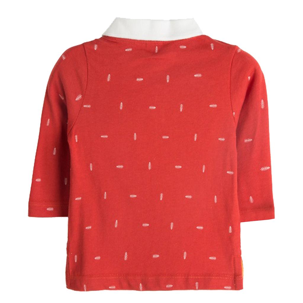 Блузка на пера с яка и копчета от Newness червена