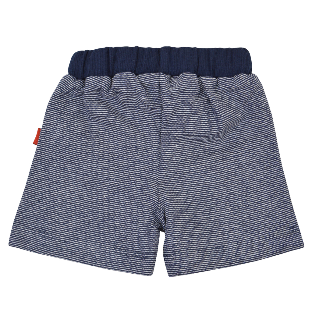 Къси панталонки с връзка и имитация на джобчета тъмно сини