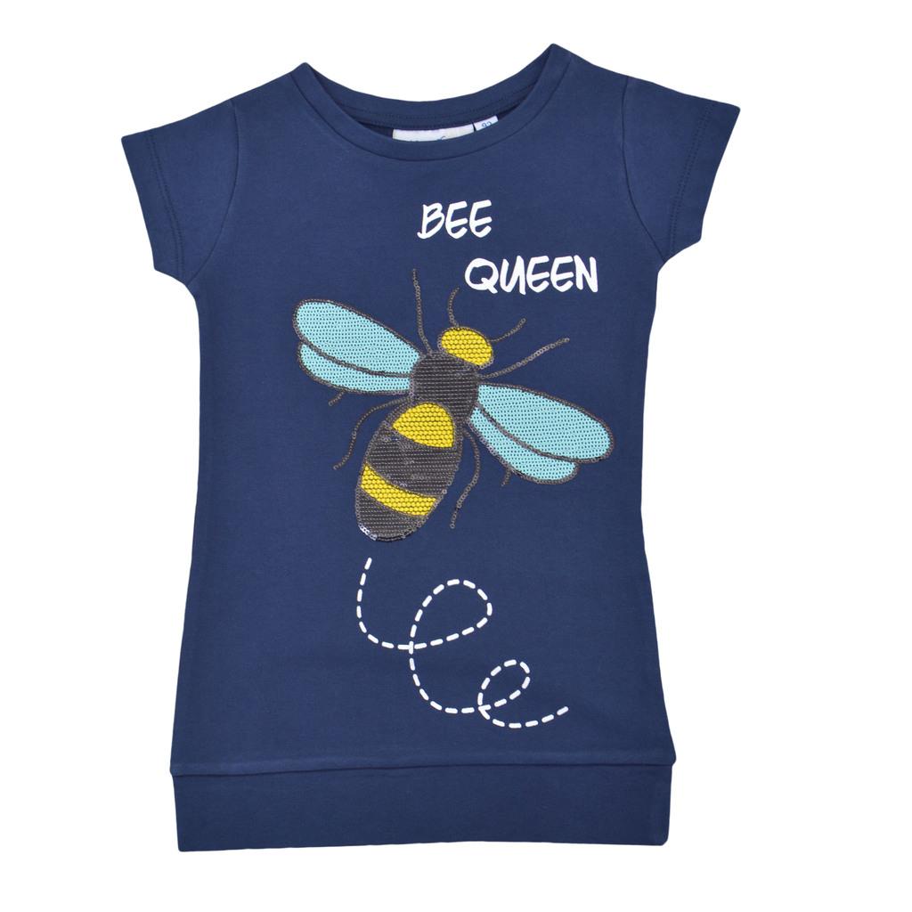 Комплект туника с пчела от пайети и клин тъмно син