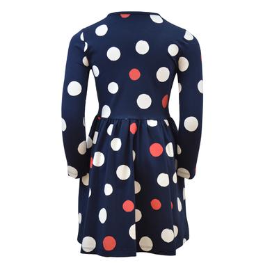 Весела трикотажна рокля с дълъг ръкав на точки тъмно синя