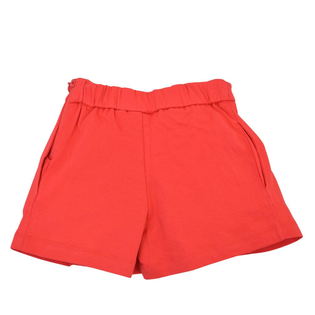 Къси панталонки с широк крачол и плохи червени