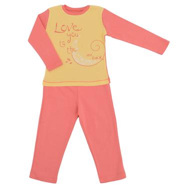 Детска есенно-зимна пижама за момиче с щампа с луна розова