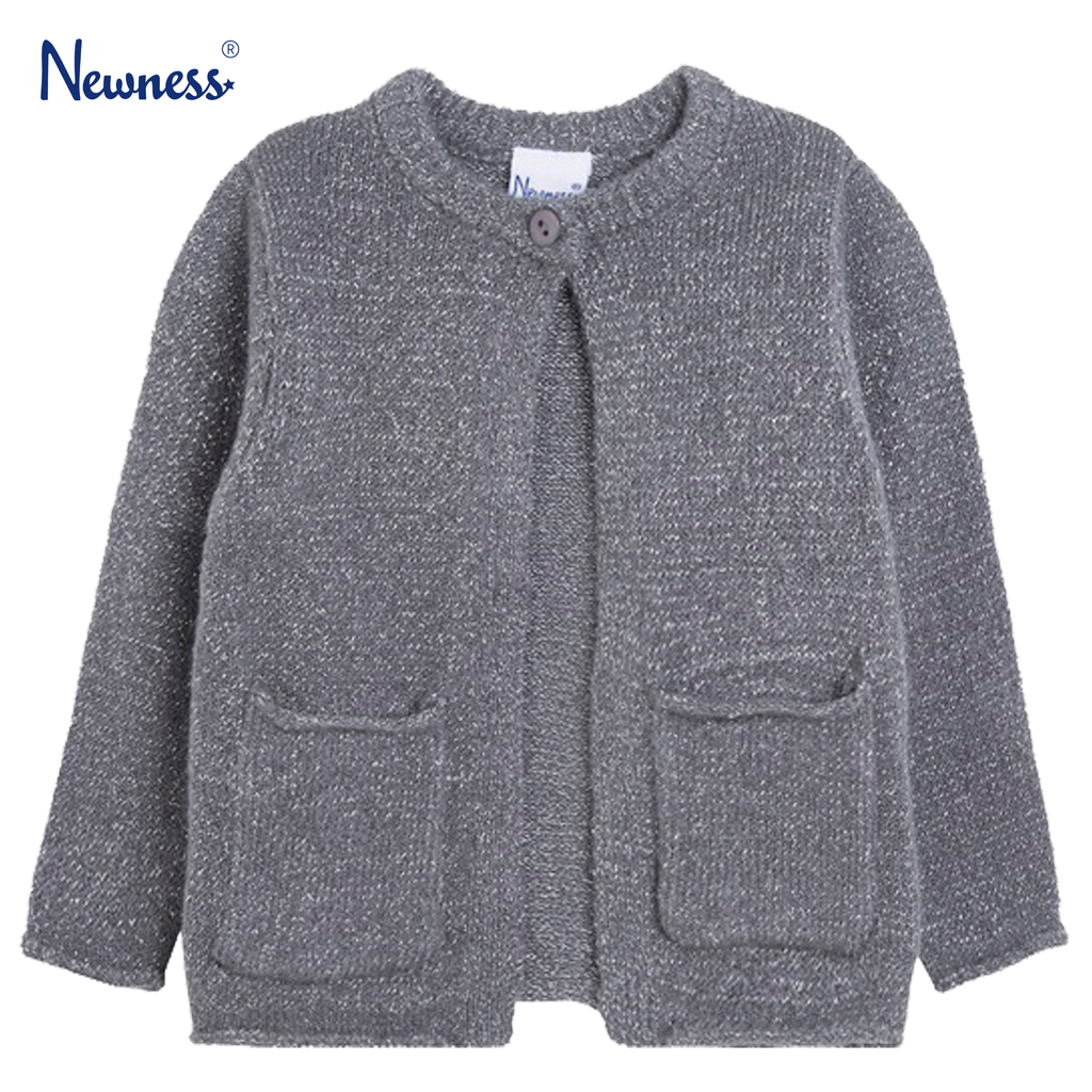 Бебешка жилетка с ламе и джобчета Newness сива