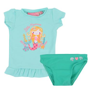 Бански костюм от тениска и бикини с щампа русалка в резеда