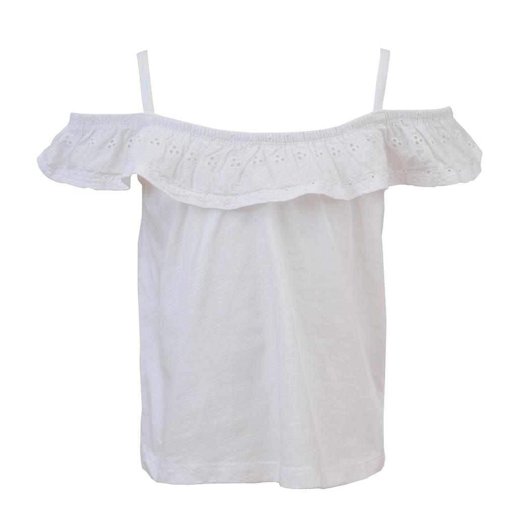 Модерна лятна блуза с дантела и тънки презрамки бяла