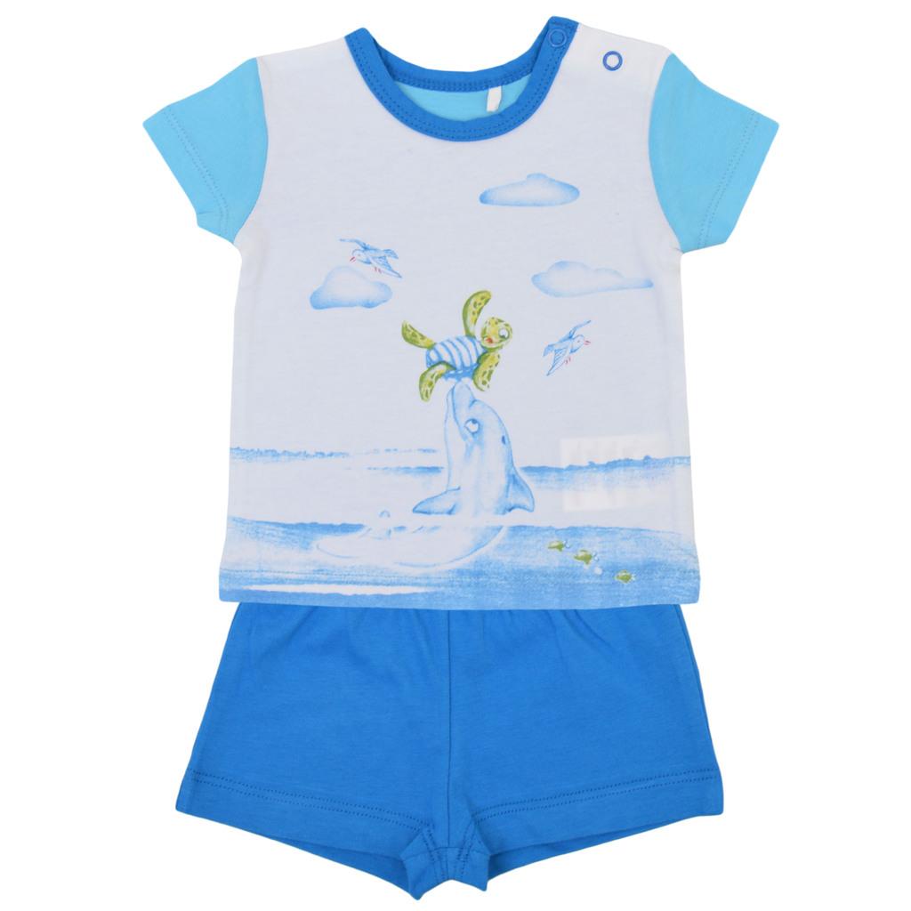Летен комплект от трико с морска щампа син