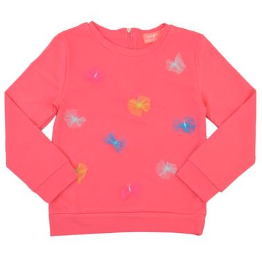 Спортна блуза в цвят диня с цип и пъстри пеперуди от тюл