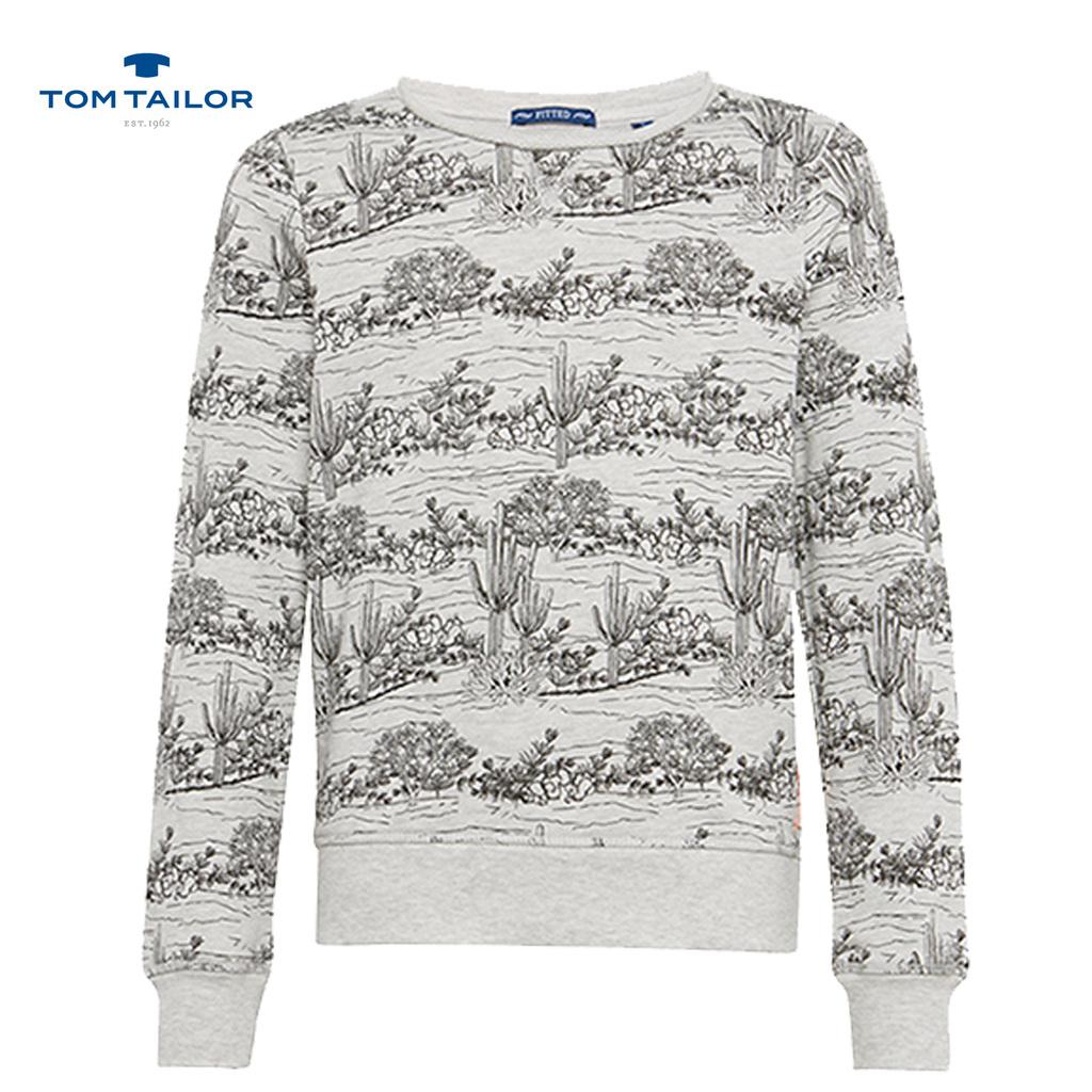 Блуза Tom Tailor с дълъг ръкав на кактуси сив меланж