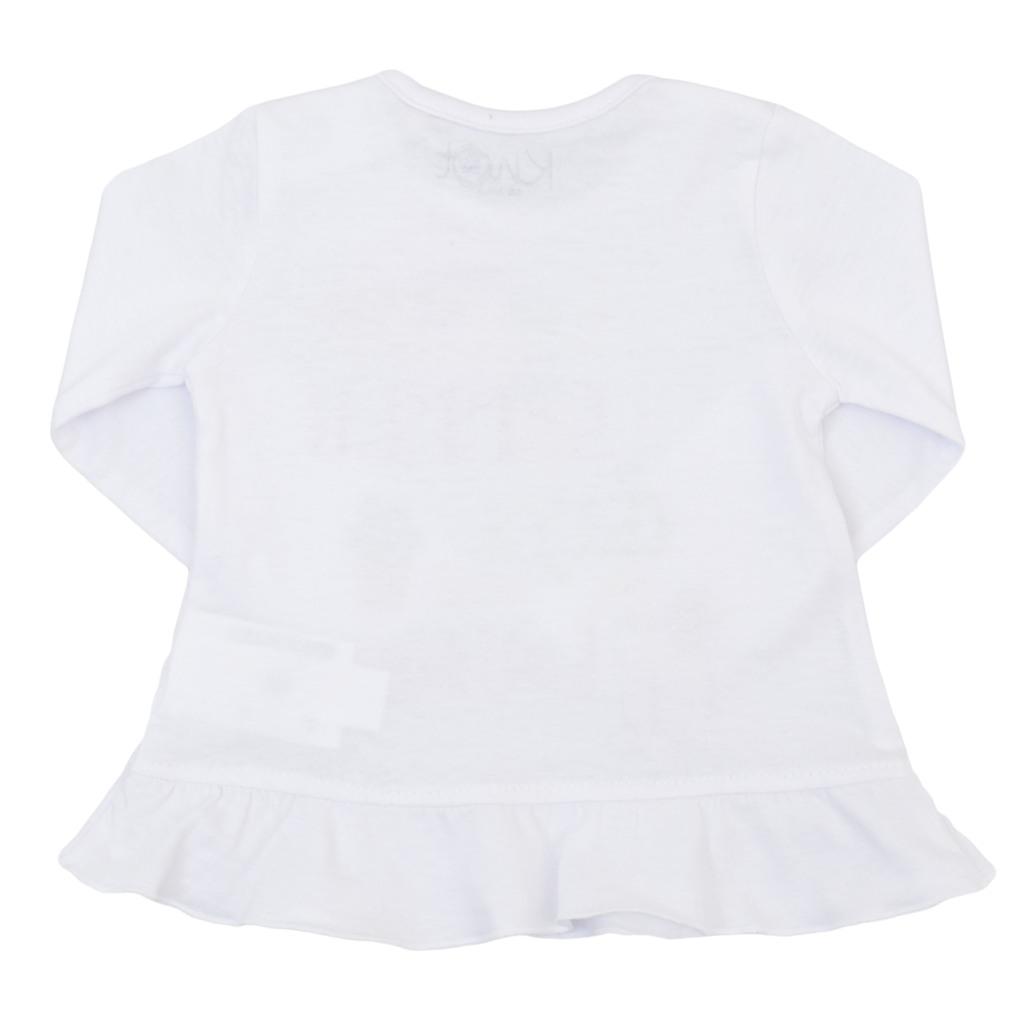 Туника с волан и свежа щампа в бял цвят