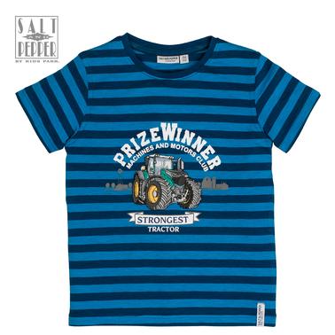 Тениска на райета с бродиран трактор от Salt & Pepper в синьо