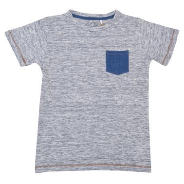 Детска блуза с дънков джоб син
