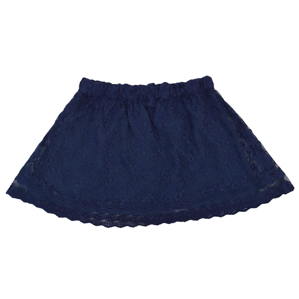 Детска пола с дантели и ластик тъмно синя