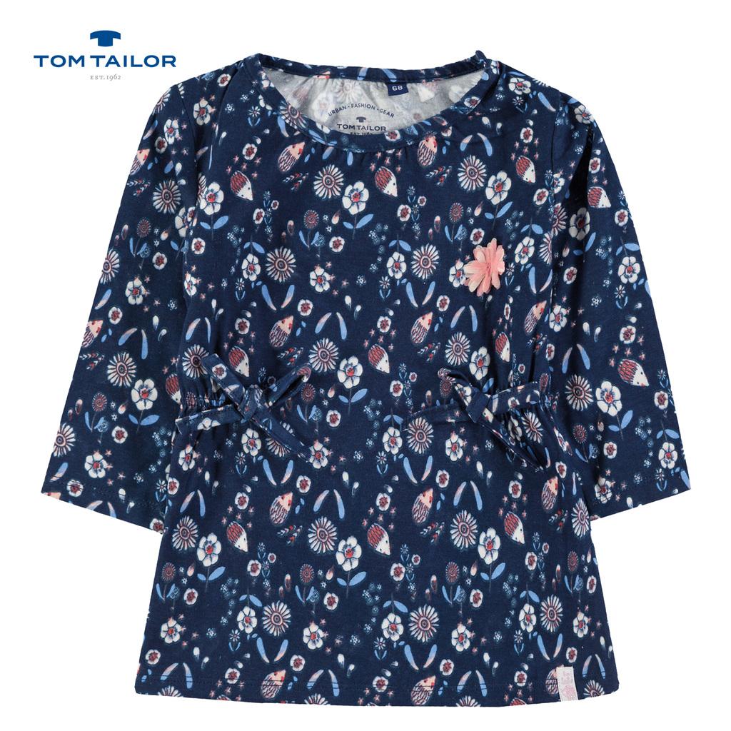 Рокля Tom Tailor с дълъг ръкав на цветя и таралежи тъмно синя
