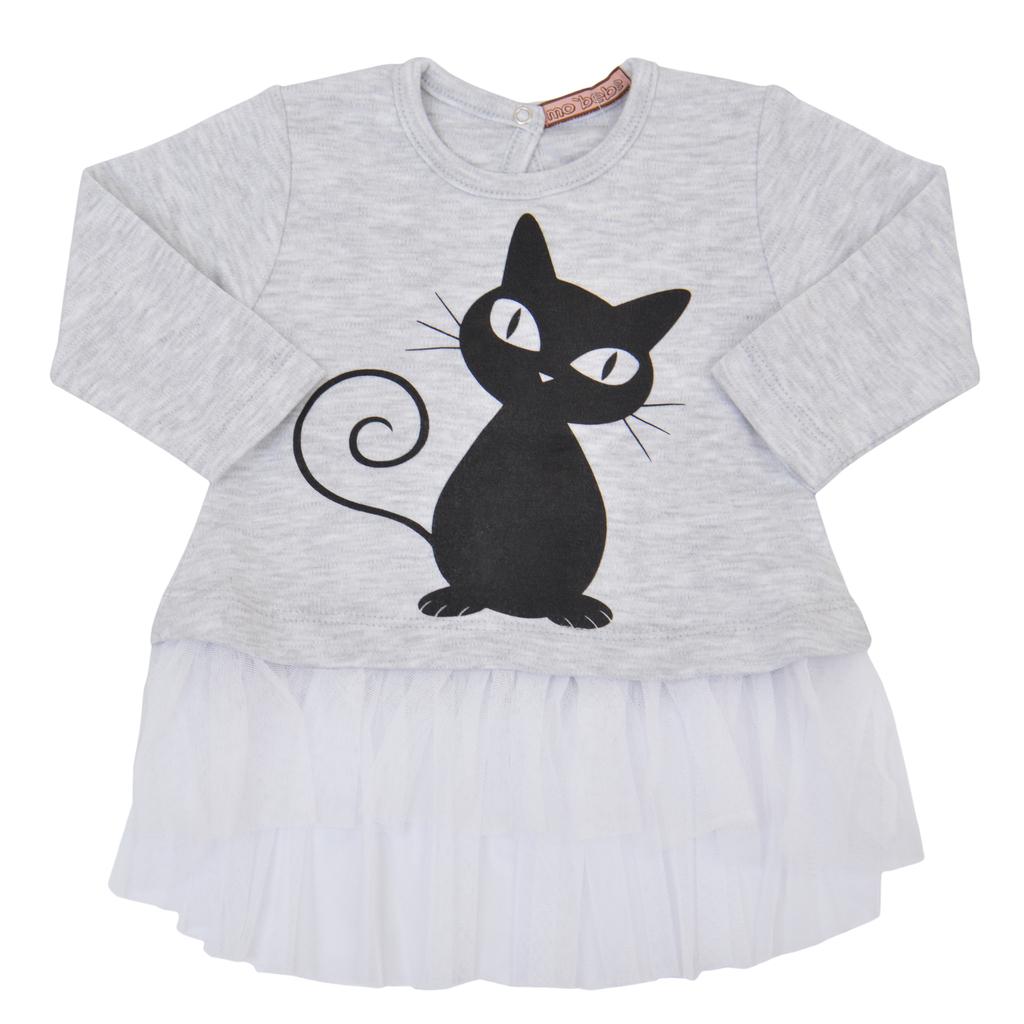 Туника  дълъг ръкав с тюл и щампа на котка светъл меланж