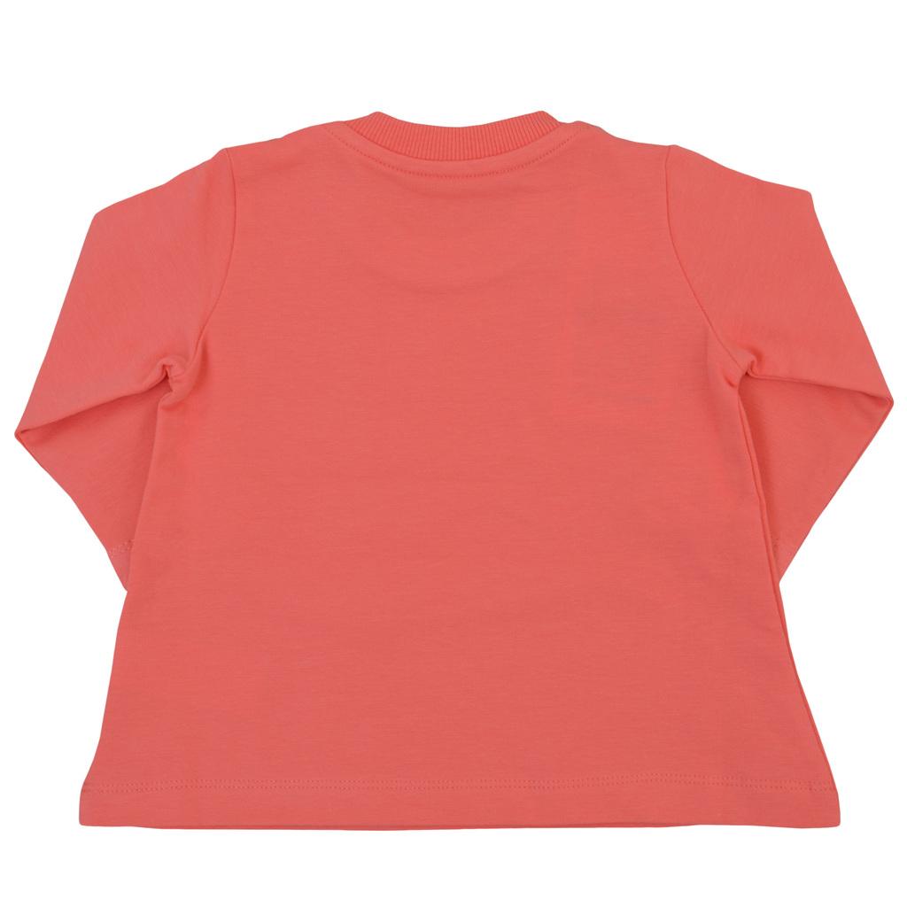 Блузка трапец в коралов цвят с щампа