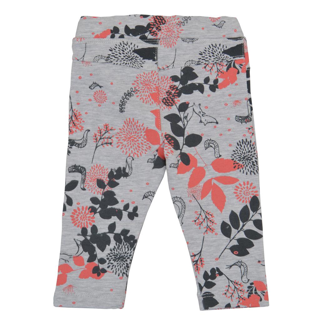 Трикотажен клин-панталон с щамповани клонки в светъл меланж