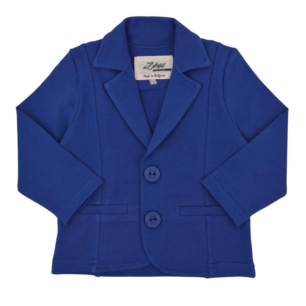 Стилно трикотажно сако с декоративни шевове в цвят индиго