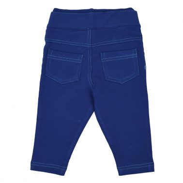 Модерен трикотажен панталон с цветен шев в цвят индиго