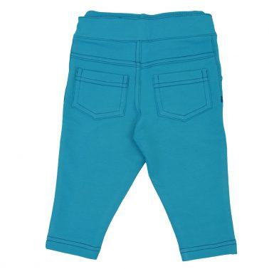 Модерен трикотажен панталон с цветен шев в тъмен електрик