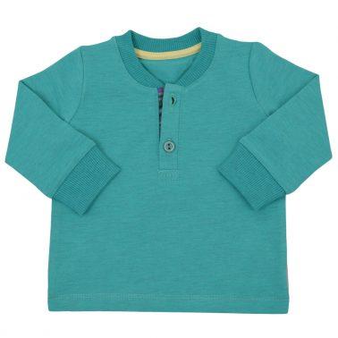 Блуза с късо закопчаване и маншет в зелено