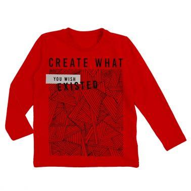 Блуза с креативна щампа в наситено червено