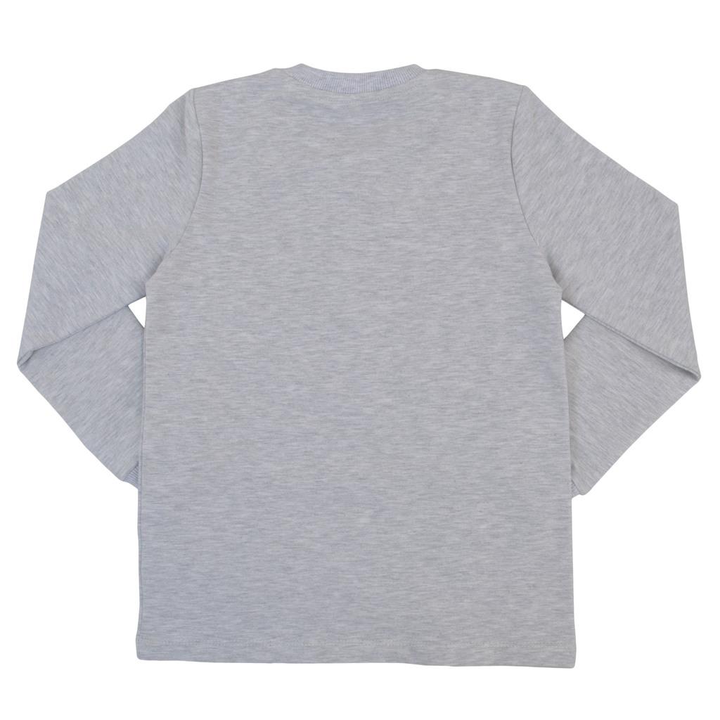 Блуза с късо закопчаване и ластик на ръкавите в сив меланж