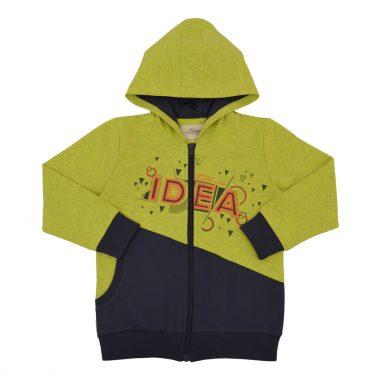 """Пъстър суитшърт """"Great IDEA"""" с джоб и качулка в зелен цвят"""