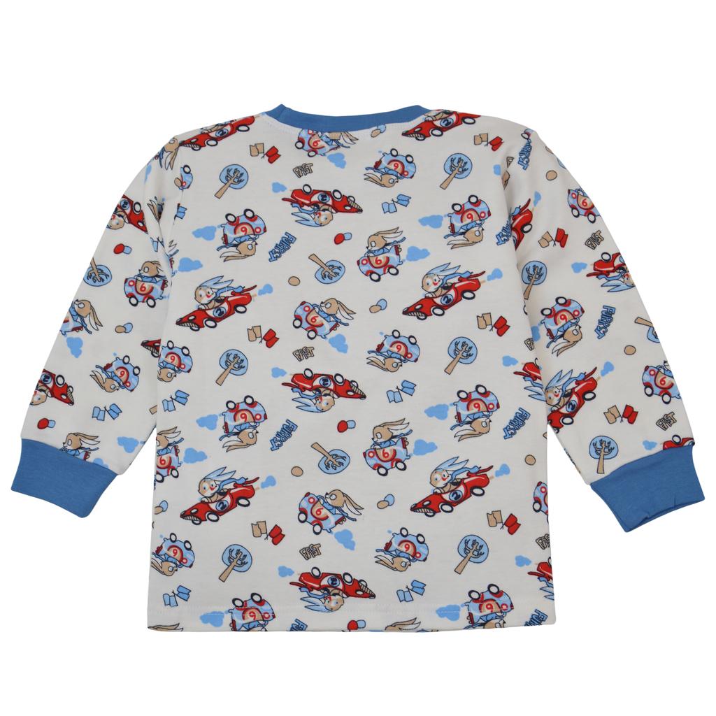 """Пижама """"Точици"""" със зайчета-състезатели в синьо"""