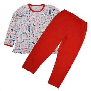 """Пижама """"Точици"""" с надписи и фигури в червено"""