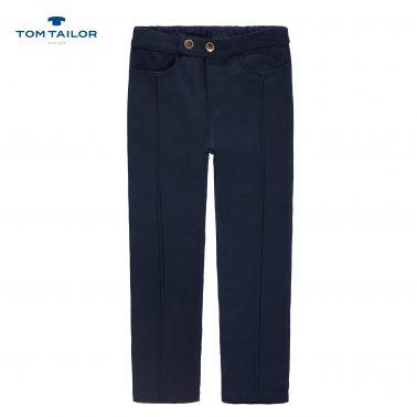 Елегантен трикотажен панталон с ръбове от Tom Tailor в тъмно синьо