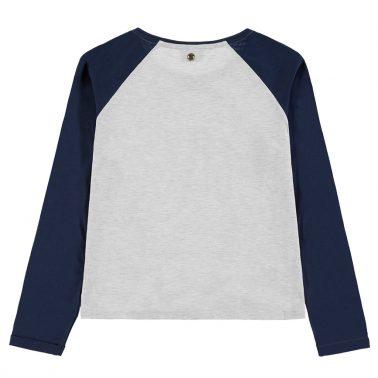Блуза ''Girls first'' с възел и цветен ръкав от Tom Tailor в сиво