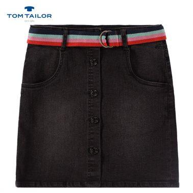 Модерна дънкова пола в черно с копчета и цветен колан от Tom Tailor