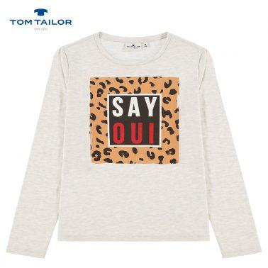 Блуза с леопардова щампа и надпис от Tom Tailor в сиво