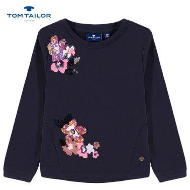 Топла блуза Tom Tailor в тъмно синьо с цветя от обръщащи се пайети