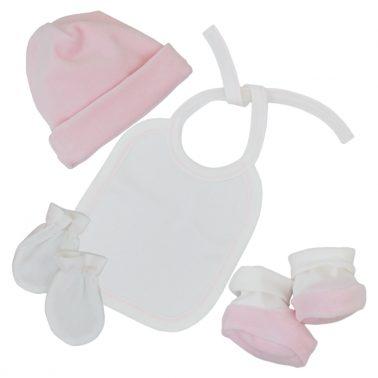 """Плюшен сет за изписване """"Точици"""" от 7 части с порт-бебе в розово"""