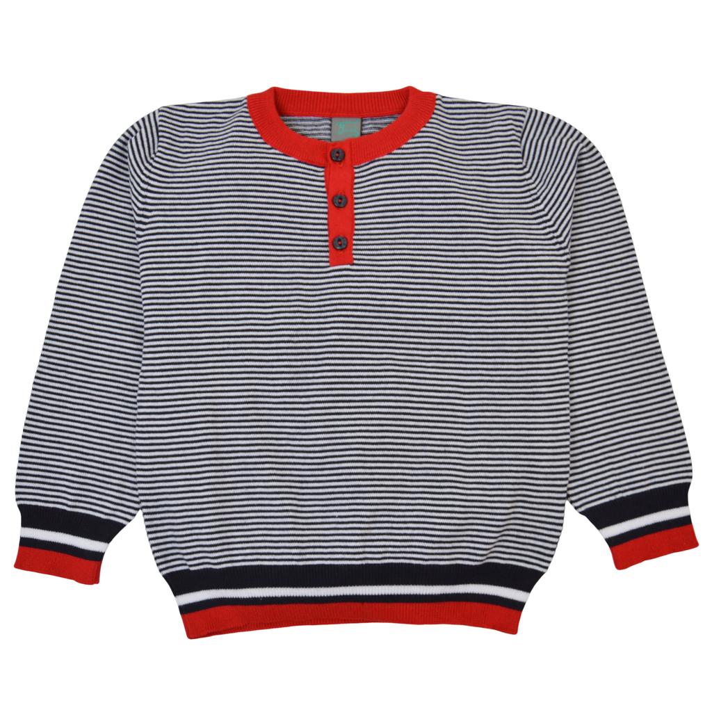 Фин пуловер от памучно плетиво на райета с червен завършек