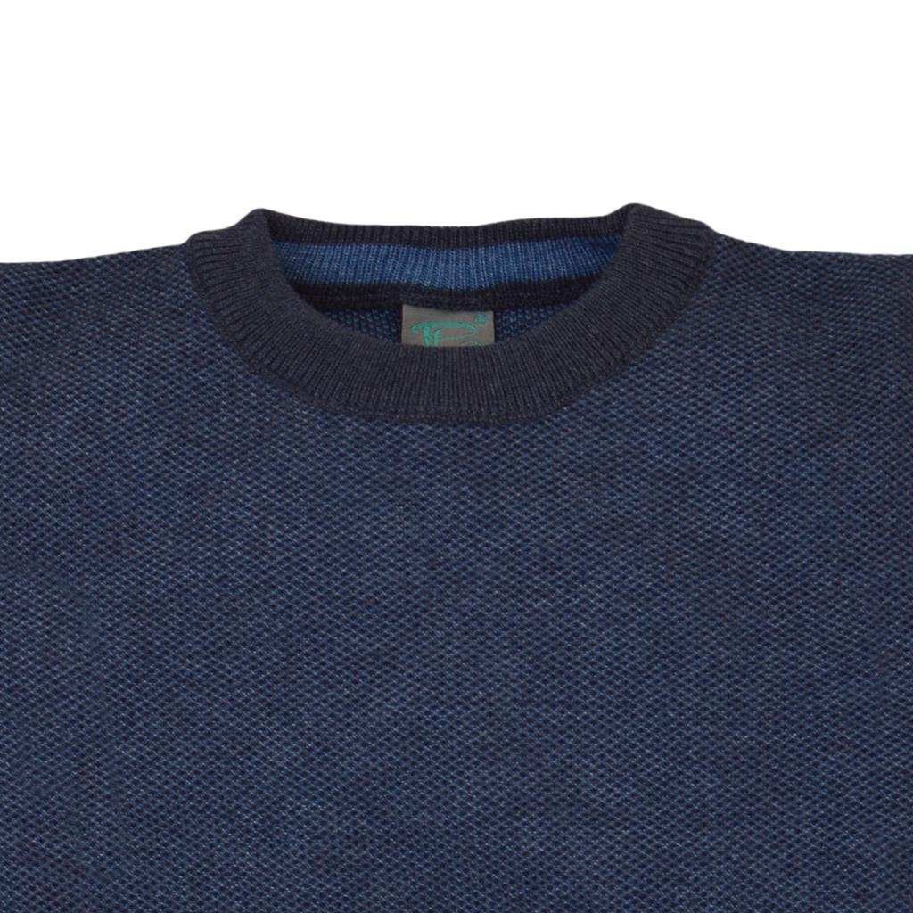 """Елегантен памучен пуловер в тъмно синьо с плетка """"пчелна пита"""""""