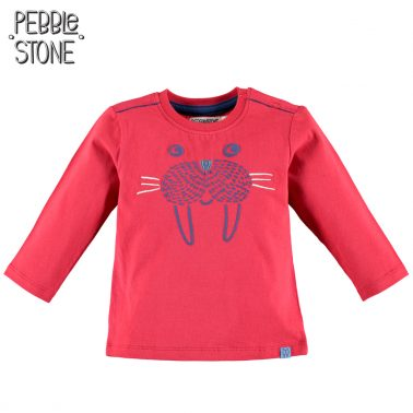Блуза с муцунка на морж от Pebble Stone червена